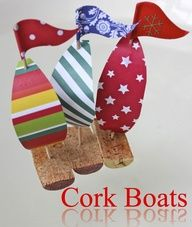 "Cork boats for bath time play ~~ I see these going well with the ""Boat Race with Spray Bottles"" pin. Seems better than killing off all those Minnows."