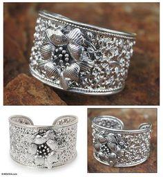 Sterling silver flower bracelet - Jasmine Exuberance | NOVICA