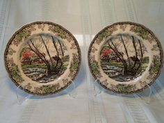 """Johnson Brothers The Friendly Village Salad Plates Willow by Brook 7 3/4"""" TWO #JohnsonBros"""