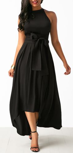Black Belted Asymmetric Hem Dress and Cardigan.
