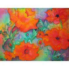 Silk Poppies by Jan Pursey-Grange @ Mini Gallery - Silk Painting