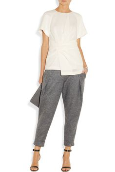Alexander Wang's flecked wool and silk-blend pants are inspired by the shorts and sweatpants worn by boxers. The oversized waistband and curved pleating lend this tapered style a sporty look.This is a huge YES! Matches Fashion, Sporty Look, New Wardrobe, White Fashion, Sweater Shirt, White Tees, Cool Shirts, Alexander Wang, Casual Wear