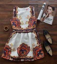 Royal Crown Pattern Jacquard Dress