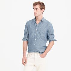 Shop the Indigo Japanese chambray shirt at J.Crew and see the entire selection of Men's Shirts. Shop Men's clothing & accessories at J. Denim Jeans Men, Denim Shirt, Chambray Shirt Outfits, Casual Shirts For Men, Men Casual, Indigo, Crew Clothing, J Crew Men, Long Sleeve Shirts