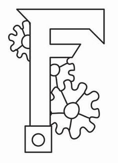 Steampunk Letter F - Uppercase_image Doodle Alphabet, Graffiti Alphabet, Alphabet Coloring, Types Of Embroidery, Cross Stitch Embroidery, Embroidery Designs, Steampunk Crafts, Steampunk Gears, Letter F