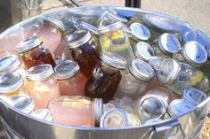 Summer get togethers ~ make ahead drinks in mason jars ~ lemonaid ~ sweet tea ~ fruit waters ~ Pink lemonaid or, whatever is on your menu.. Load them up in a new or old galvanized pail loaded with ice..
