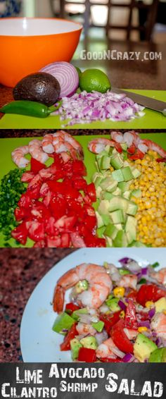 Lime cilantro avocado shrimp salad plus 2 other summer salads to make your friends jealous at the next gathering. Seafood Recipes, Mexican Food Recipes, Cooking Recipes, Healthy Recipes, I Love Food, Good Food, Yummy Food, Best Summer Salads, Shrimp Salad
