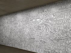to the foot mural I did in one day at the Univeristy of Dayton last month Thanks to the crew at by timothygoodman Timothy Goodman, University Of Dayton, School Murals, Wall Murals, Wall Art, Types Of Lettering, Digital Signage, Love Can, Line Drawing