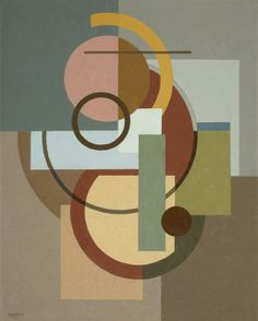 Composition (SB57), 1927. Paul Kelpe (1902-1985) was a German-born American abstract painter. His constructions integrating found objects into paintings were the first such works created in the US. He painted 2 of the 5 Williamsburg murals, the 1st abstract murals in the US. He was an innovative independent painter and university art professor. He was a pioneer of American abstract art, including his work in Chicago during a period in which abstracts were not well accepted or appreciated.