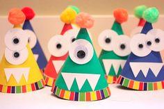 Monster Geburtstagshüte    Das ist wirklich eine schöne Idee zum Kindergeburtstag.Vielen Dank dafür!  Dein blog.balloonas.com    #kindergeburtstag #motto #mottoparty #party #kids #birthday #idea #monster