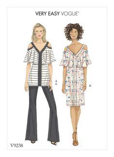 Vogue Patterns V9238 MISSES' COLD-SHOULDER, FLOUNCE TOP AND DRESS, AND BOOTCUT PANTS
