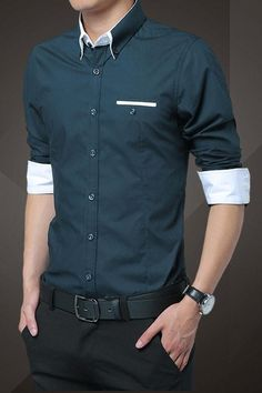 Navy Blue Cotton Squared-Off Collar Classic Mens Shirt Look Fashion, Mens Fashion, Fashion Outfits, Fashion Tips, Casual Wear, Men Casual, Only Shirt, Men Dress, Shirt Dress