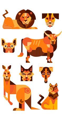 Flat animals study on Behance