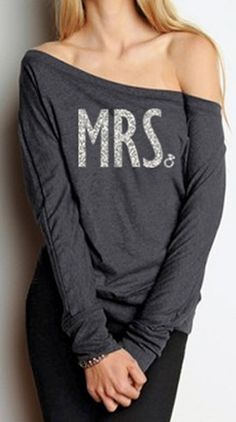 MRS. Off-Shoulder sweater. Perfect for all #Wedding events, and the #Honeymoon!. Buy at www.MrsBridalShop.com