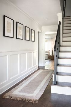 hallway decorating 375276581450051489 - Chip & Joanna Gaines' Mountain Home Home Renovation, Home Remodeling, Hallway Ideas Entrance Narrow, Modern Hallway, White Hallway, Entryway Stairs, Modern Staircase, Ideas For Hallways, Entrance Hall Decor