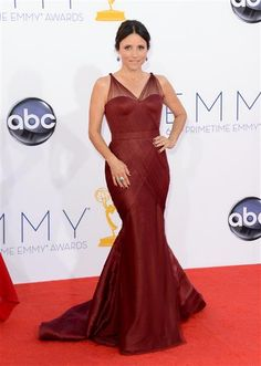 More Oxblood colored gowns on the Red Carpet! Julia Louis-Dreyfus in Vera Wang at the 2012 Emmy Awards. Julia Louis Dreyfus, Black Dress Red Carpet, Red Carpet Looks, Red Carpet Dresses, Celebrity Look Alike, Celebrity Style, Celebrity Outfits, Traje Black Tie, Mermaid Gown