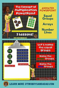 Teaching multiplication in third grade builds on second grade practice with repeated addtion by using an array. Arrays, equal groups and number lines are my prefered visuals for developing conceptual understanding of multiplication. This animated PowerPoint uses all three strategies for multiplying. Students make connections across all three strategies. They follow along with the printables and show their thinking about multipication.  Discover and learn more about multiplicaiton… Teaching Numbers, Teaching Math, Teaching Resources, Math Tips, Math Strategies, Teaching Addition, Multiplication Activities, Number Lines, Common Core Math