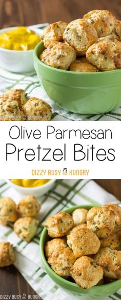 Olive Parmesan Pretzel Bites | http://DizzyBusyandHungry.com - Easy, no-yeast recipe for creating soft pretzel bites, with yummy green olives and Parmesan cheese baked right in!