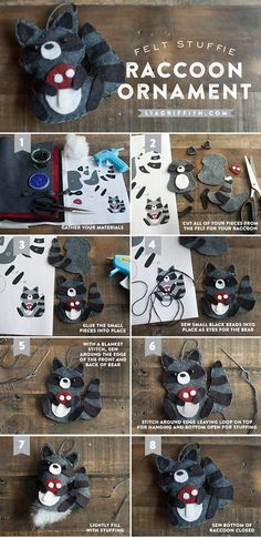DIY Felt Raccoon Ornament or Package Topper Tutorial. Style inspiration. Christmas decor. Please choose cruelty free vegan materials and supplies etc! Do some extra hand stitching if you can't find a vegan glue substitute