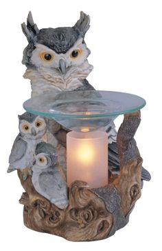8 inch Polyresin White Owl Mother and Children Electric Oil Burner