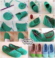 Knitting booties models and construction - Crochet Slippers / Socks . Crochet Slipper Pattern, Knitted Slippers, Crochet Slippers, Crochet Patterns, Crochet Woman, Crochet Baby, Free Crochet, Diy Crafts Crochet, Beautiful Crochet