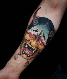 Badass scary Hannya mask tattoo idea for boys