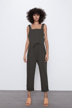 Jumpsuit with a straight neckline, wide straps, darted detail on the front, elastic waistband on the back with adjustable drawstrings and turn-up hems. HEIGHT OF MODEL: 177 cm. Zara Jumpsuit, Pleated Jumpsuit, Bodycon Jumpsuit, Long Jumpsuits, Playsuits, Jumpsuits For Women, Zara Home Stores, Designer Jumpsuits, Overalls Women