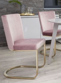 Form Pink Velvet Dining Chairs and brass base with our Matt Grey compact dining table Compact Table And Chairs, Shabby Chic Table And Chairs, Industrial Dining Chairs, Dining Table Chairs, Arm Chairs, Upholstered Chairs, Velvet Furniture, Dining Furniture, Retro Office Chair
