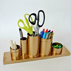 Quick and easy DIY project. A gold Desk Organizer. Inspired by the $48 Anthropologie version, this one only cost $3!