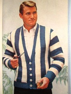 Knit Men's Cardigan Sweater Pattern by vintageknitcrochet 60s Men's Fashion, 1950s Fashion Menswear, 60s Fashion Trends, Vintage Fashion, Men Fashion, Fashion Ideas, Fashion Blogs, 1950s Mens Fashion Casual, Hippie Fashion