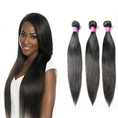 3 Bundles Brésilien Vierge Cheveux Raides remy Cheveux Produits Non Transformés Droite Brésilienne Vierge de Cheveux Extensions de Cheveux Humains