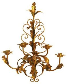 One Kings Lane - Not the Usual Suspects - Italian Gold Leaf Tole Sconce