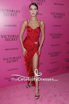 41a63eab2f43 Bella Hadid Red Corset High Split Evening Dress 2017 Victoria's Secret  Fashion Show After-party