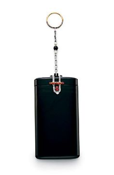 AN ART DECO AGATE, RUBY AND DIAMOND CIGARETTE CASE, BY CARTIER The agate rounded oblong case, the cover and hinge set with rose-cut diamond and cabochon and calibré-cut ruby geometric detail, to the chain and hoop, set with pearls and a black onyx bead, mounted in platinum and gold, circa 1925