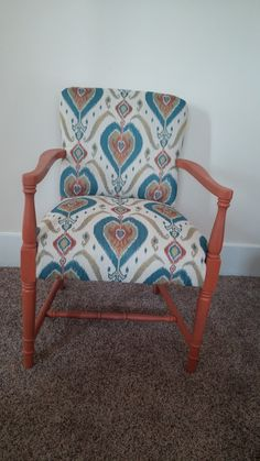 Chair reupholstered in Ikat fabric.