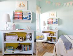 bookcase with a pop of yellow | creating a shared room for brother + sister.
