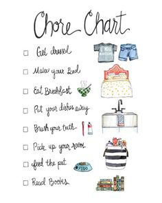 We made this adorable illustrated chore chart with non-readers or early readers in mind, and we love the idea of putting it in a fun frame with glass and then letting your little ones use a dry-erase Chores For Kids, Activities For Kids, Crafts For Kids, Babysitting Activities, Bonding Activities, Kids And Parenting, Parenting Hacks, Parenting Styles, Foster Parenting