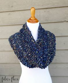The Night Sky Cowl is chunky, cozy, and super fast to stitch up! Worked in…