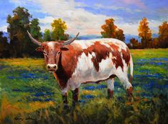 Texas longhorn ranch cattle original oil painting on by Kanayoart