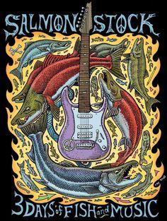 salmonstock_guitar_logo...artist Ray Troll
