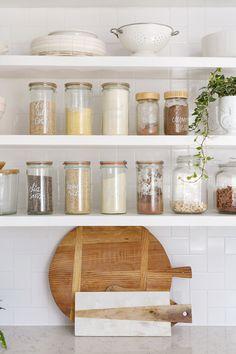 harmonious open shelving in the kitchen.
