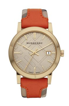 Burberry Timepieces Check Stamped Leather Strap Watch Orange Leather 3a7afa706a