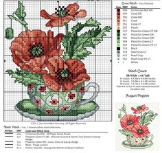 Poppies in a teacup cross stitch pattern with key