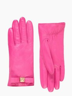 Pink pyramid bow leather glove