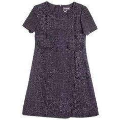 Preowned Chanel Wrap Dress In Black And Purple Tweed Size 38eu (€1.725) ❤ liked on Polyvore featuring dresses, aesthetic day dresses, purple, purple day dress, pre owned dresses, chanel, chanel dress and pocket dresses