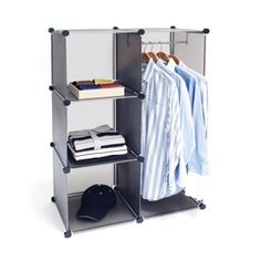 This cube closet organizer is designed based on a rearrangeable grid system.