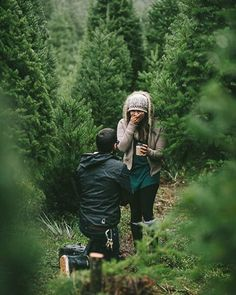 Love this moment! 💗 #woods #trees #evergreens #pines #proposal #natural #nature #onbendedknee #sayyes #surprise #countrygirl #northwest #northern #woods #cutencountry #countryboy #willyoumarryme ❤️🌲