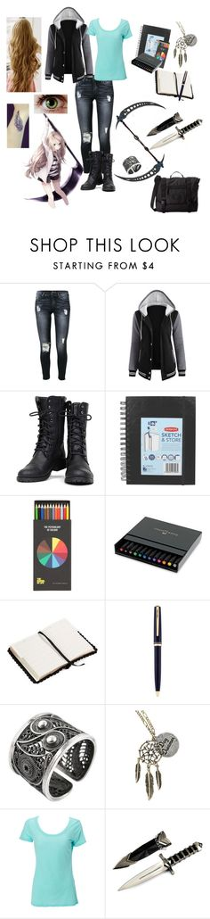 """""""Creatively Dangerous"""" by chibi-space-gal ❤ liked on Polyvore featuring 7 For All Mankind, Nature Breeze, Polite, Faber-Castell, Monsoon, Montblanc, NOVICA and Burton"""