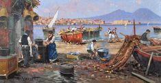Vassetti Francesco (Naples 1936) Boats and fishermen. +++++++++++++++++++ https://es.pinterest.com/carrerrec/food-cooking-feasting-fasting/