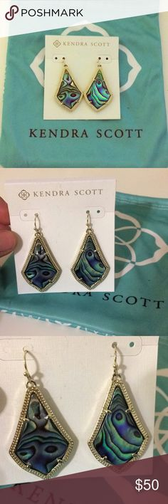 Kendra Scott Abalone Shell Earrings Kendra Scott earrings in Alex style with Abalone Shell color. Never been worn, still have plastic backing on it. Comes with bag. Kendra Scott Jewelry Earrings